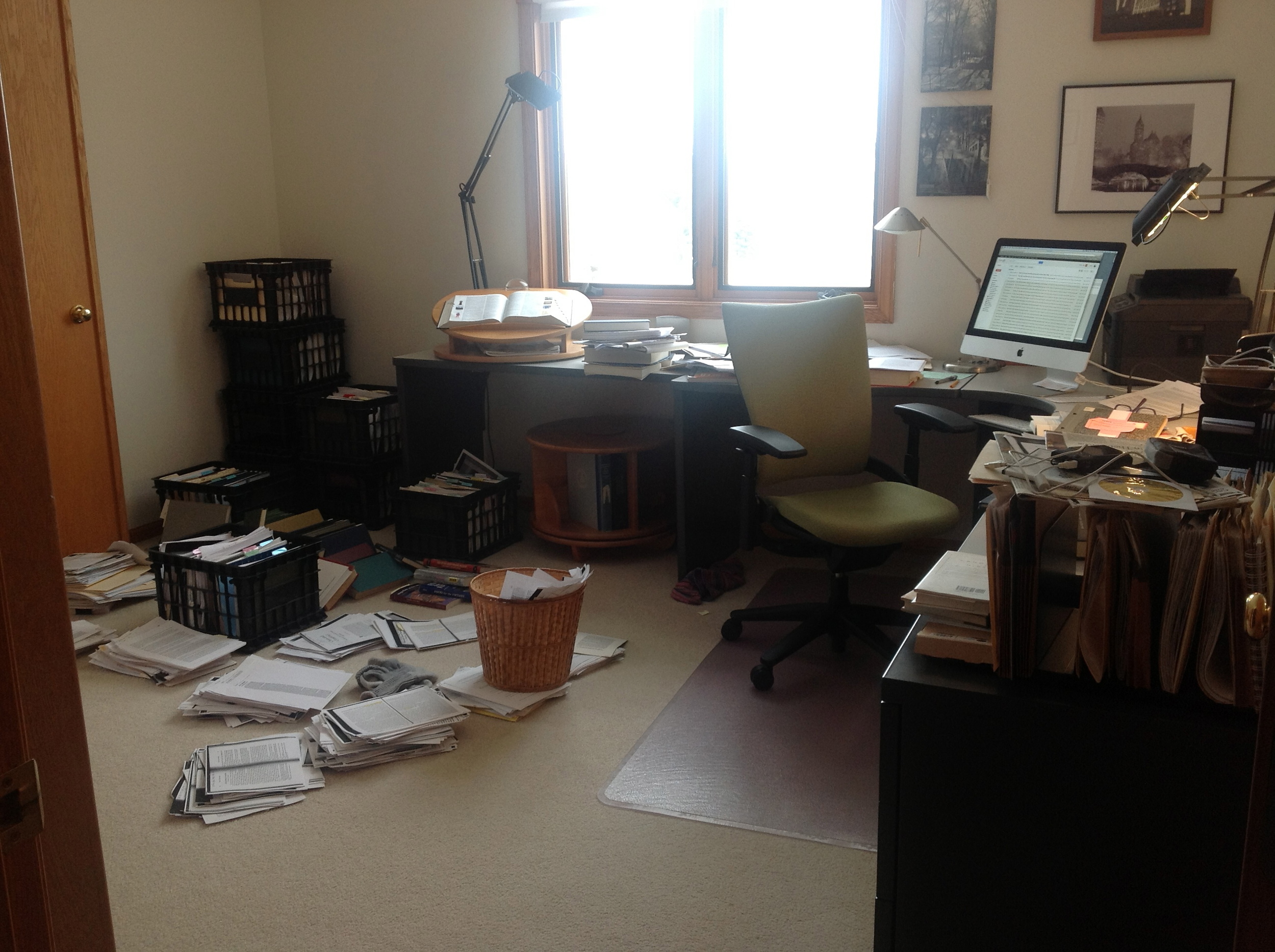 Warning: Should you decide to write a book, your office will likely look like this. And so will your brain.