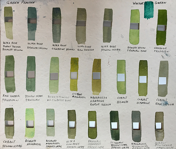 Green Chart, with color combinations listed below each swatch...