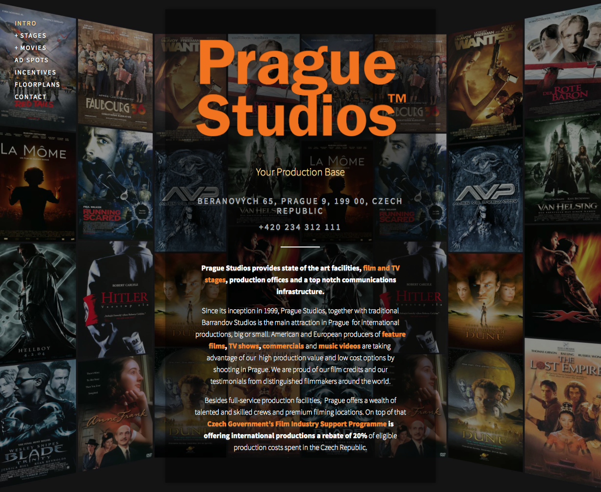 Prague Studios' new website