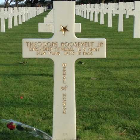 Theodore Roosevelt's grave marker at the American Cemetery, Normandy.