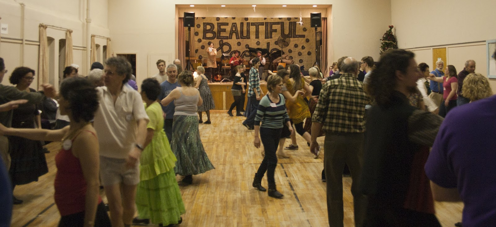 Contra dancing takes place 2-3 times a month in a church hall near the Toronto subway line.