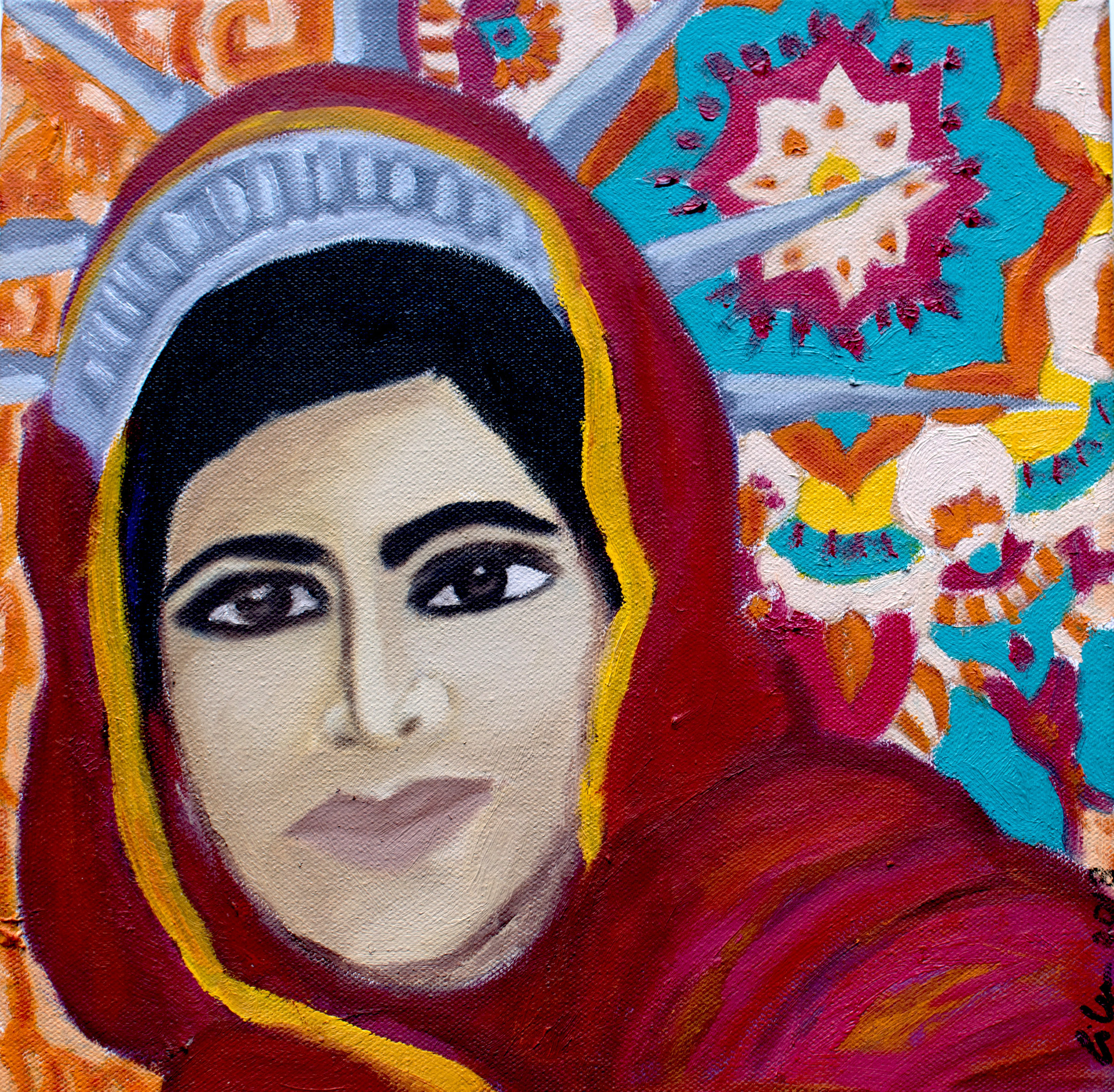 "MALALA    12X12 oil on canvas   ""I raise up my voice-not so I can shout but so that those without a voice can be heard...we cannot succeed when half of us are held back. ""- Malala Yousafzai"