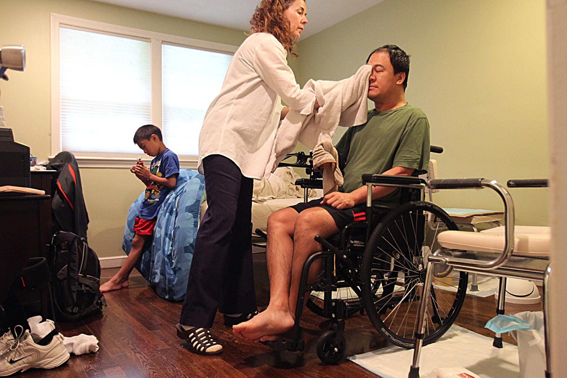 SUZANNE KREITER/GLOBE STAFF. Tony Meng, of Westwood, now needs a home health aide for basic tasks.