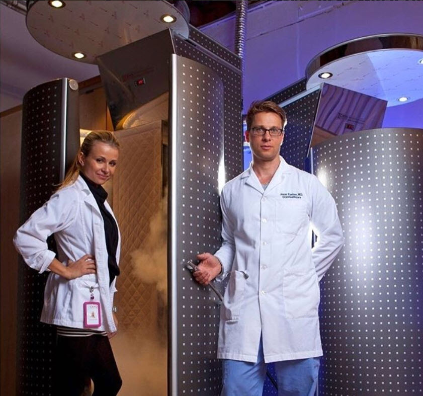 Emilia Kuehne and Dr. Jonas Kuehne at their Cryohealthcare Clinic