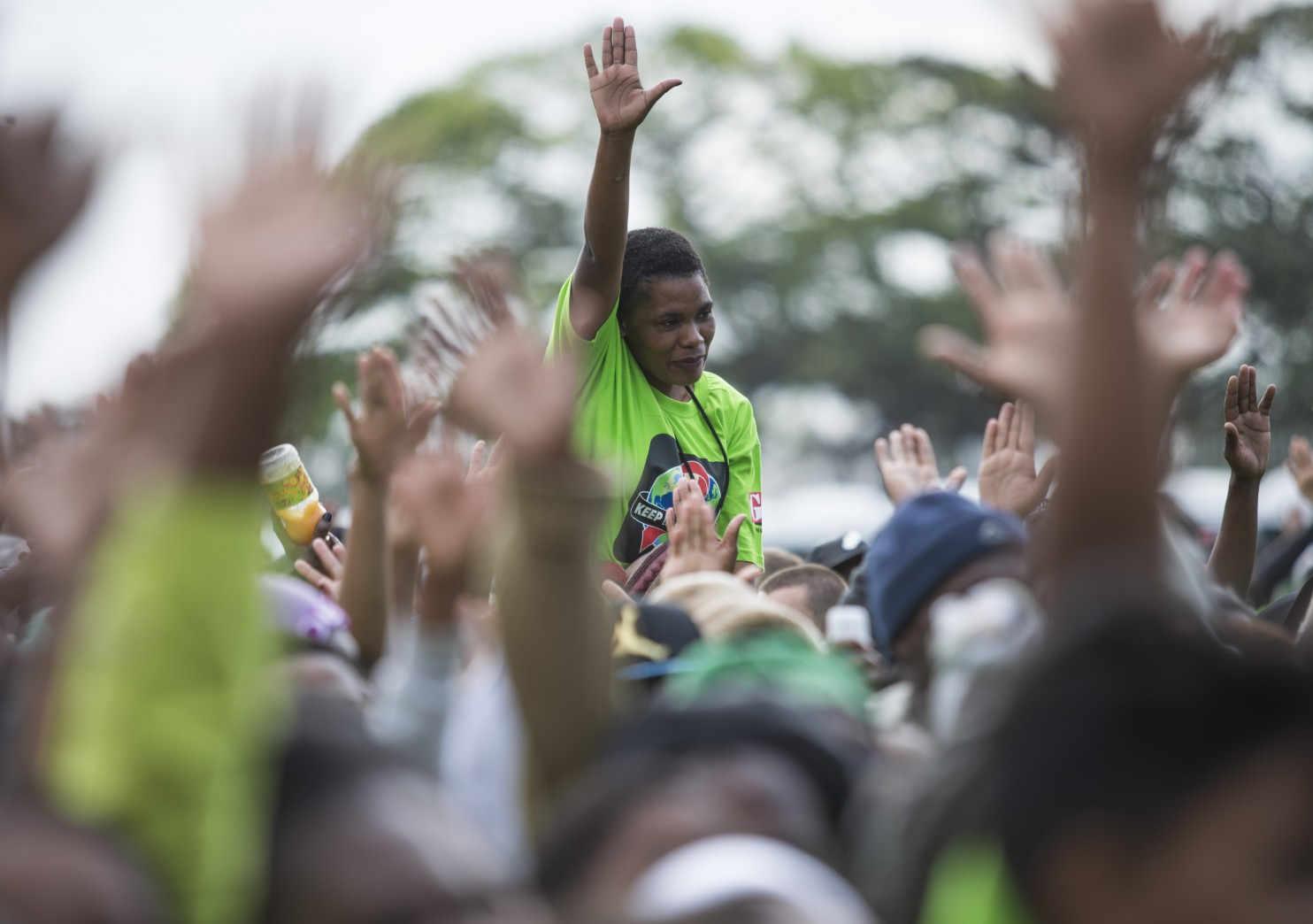 People enjoy the entertainment ahead of the 'Keep the Promis'e march to Sahara Stadium Kingsmead on Saturday in Durban, South Africa. (AP/For AIDS Healthcare Foundation)