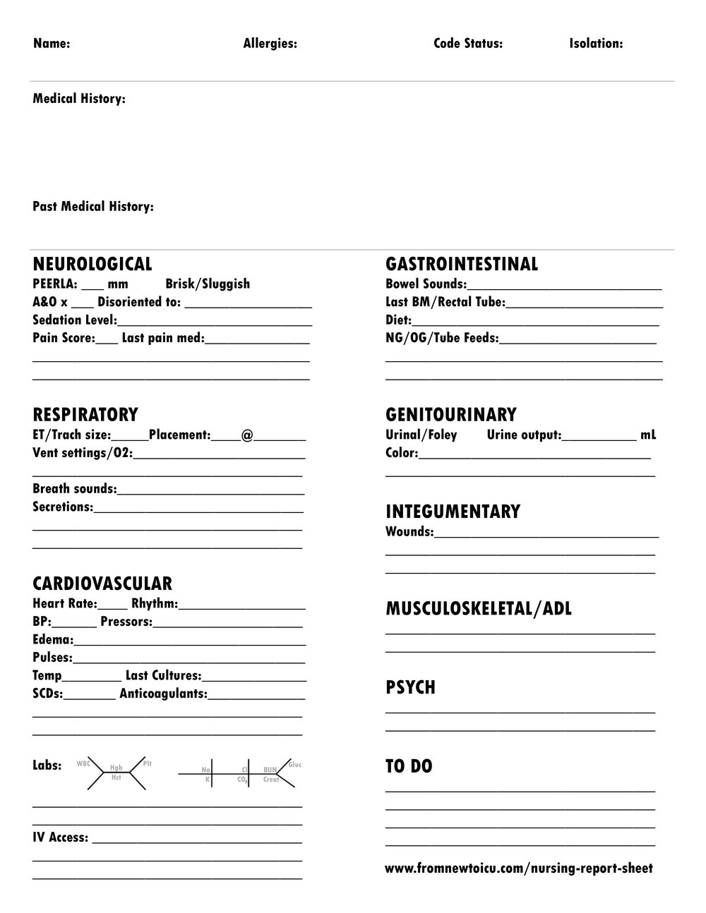What Makes the Perfect Nursing Report Sheet? — From New to ICU For Nurse Report Template