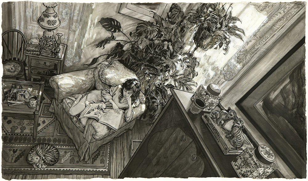 """Dreams of Versailles""  ink on paper, 17.5""x30"""