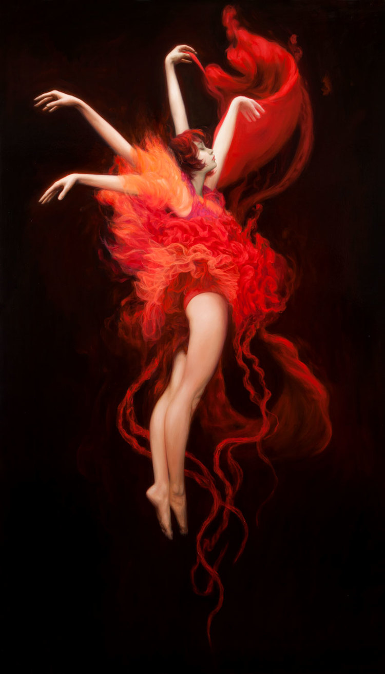 """Red Dance"" oil on canvas, 77""x44"""