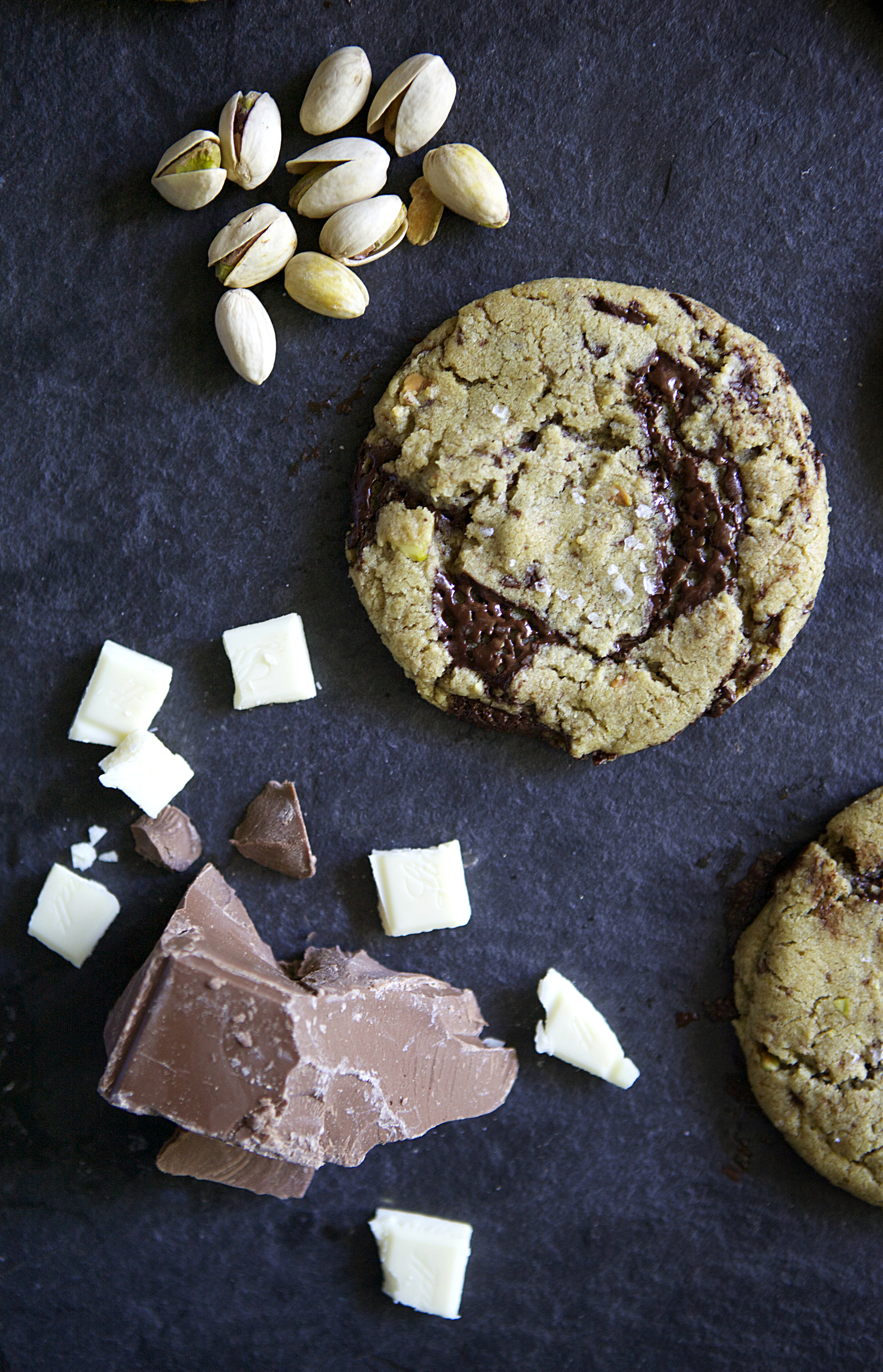 Salted White & Dark Chocolate Pistachio Cookies // Glazed & Confused