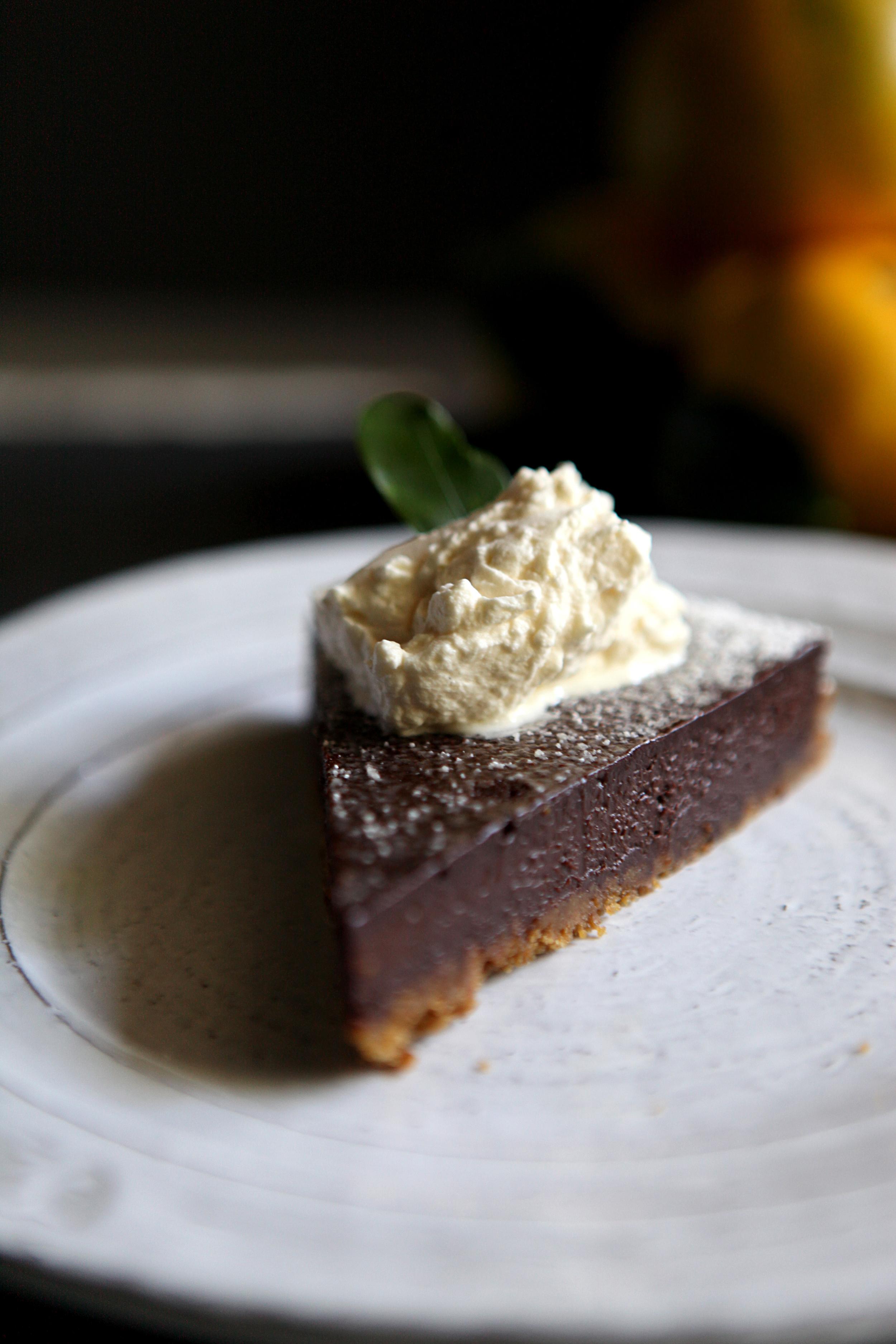 Dark Chocolate Satsuma Tart with Gingersnap Crust // Glazed & Confused