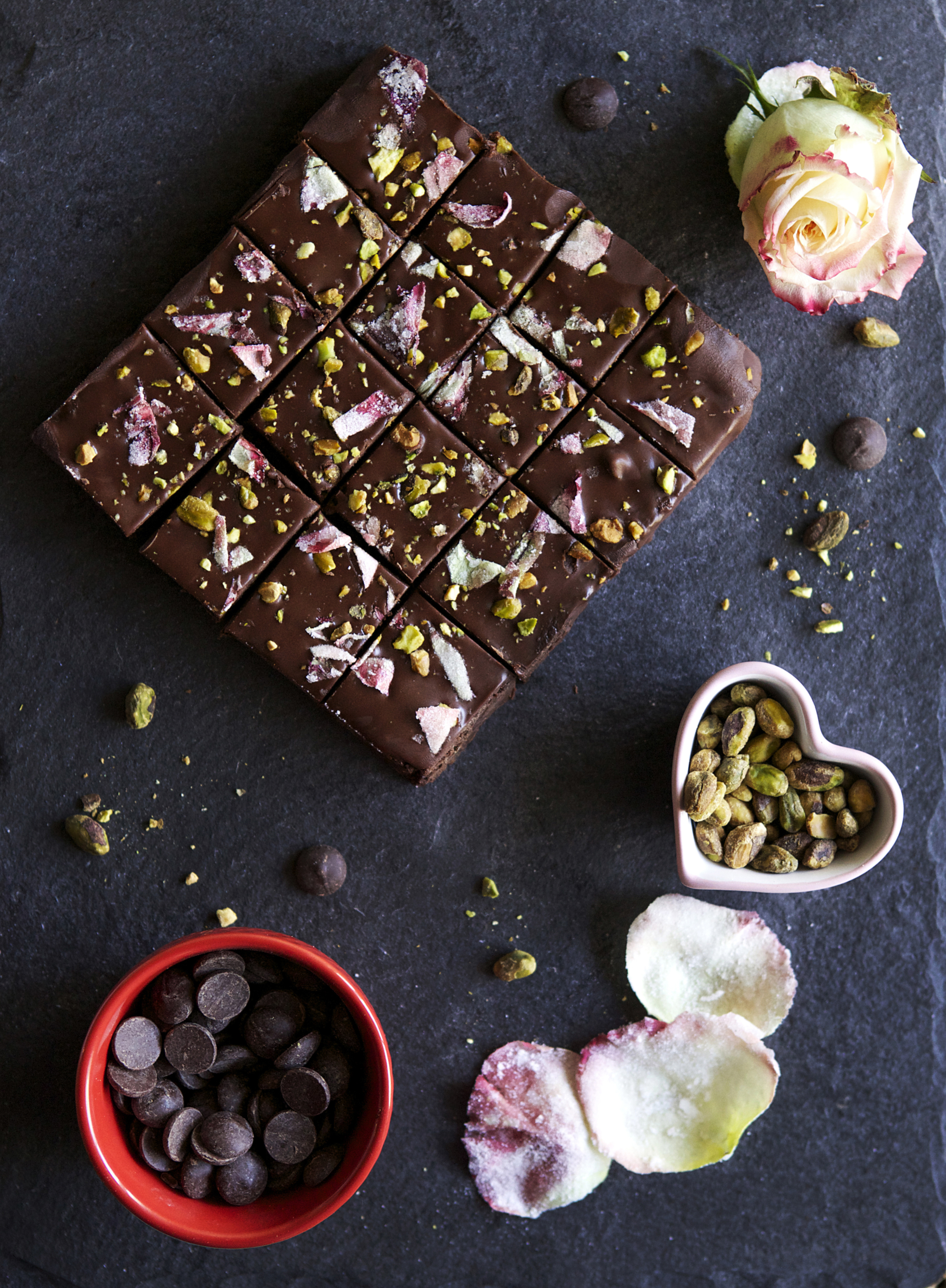 candied rose & pistachio fudge brownies perfect for Valentine's Day // Glazed & Confused