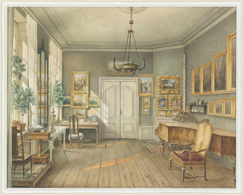 salon de musqiue de Fanny Hensel, née Mendelssohn, vers 1849, par Julius Wilhelm Helfft    collection Eugene Thaw du Cooper-Hewitt , National Design Museum de New York