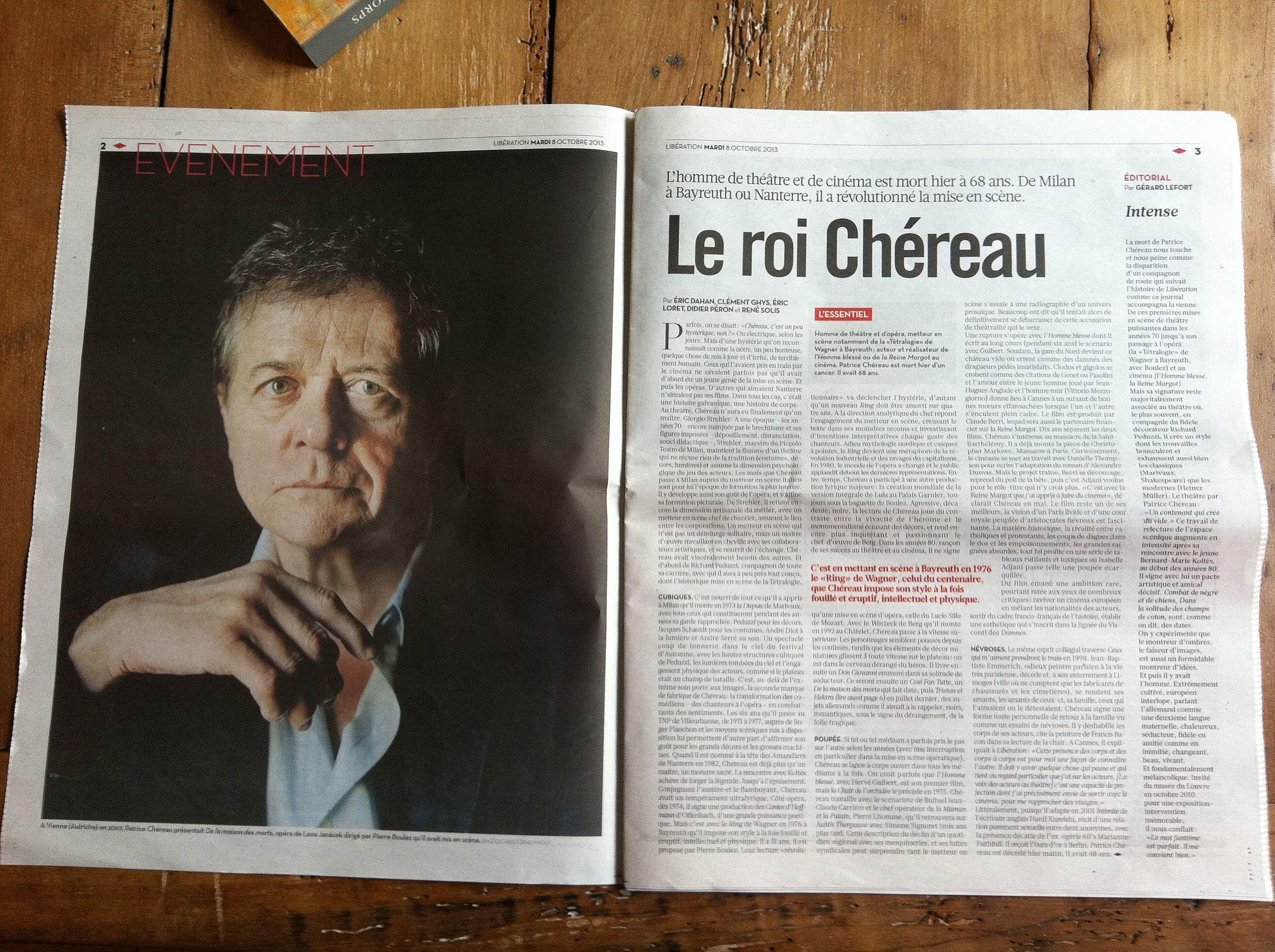 Libération, 8 octobre 2013, photo de Christophe Maout