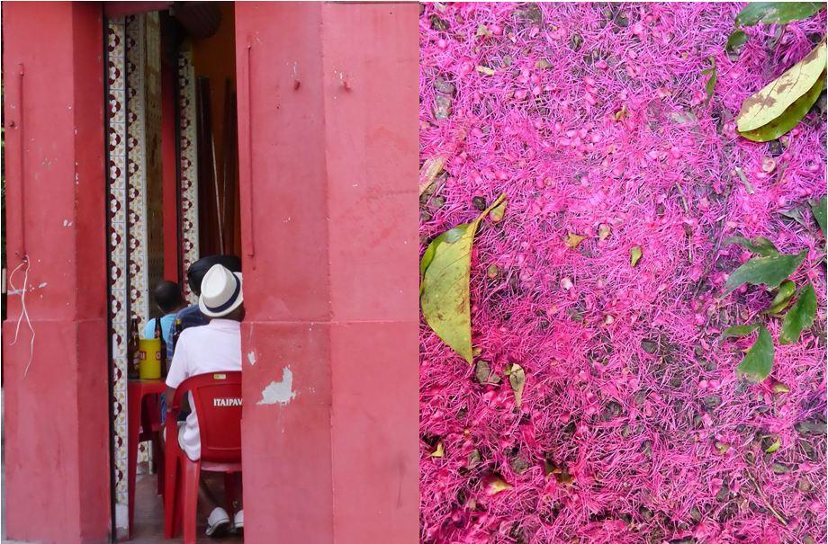 Le rose et le rouge, une association de couleurs que l'on retrouve souvent dans les petits bars de quartier.