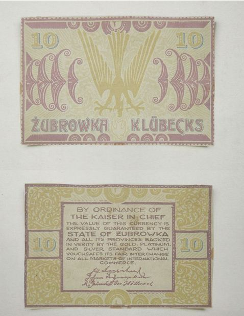 Billet de 10 Klübecks. Archives nationales de la République de Zubrowka.