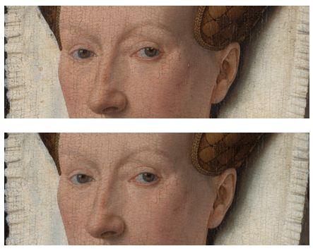 Jan van Eyck,  Margaret, femme de l'artiste  1439 (Bruges, musée Groninge) après nettoyage puis après restauration.