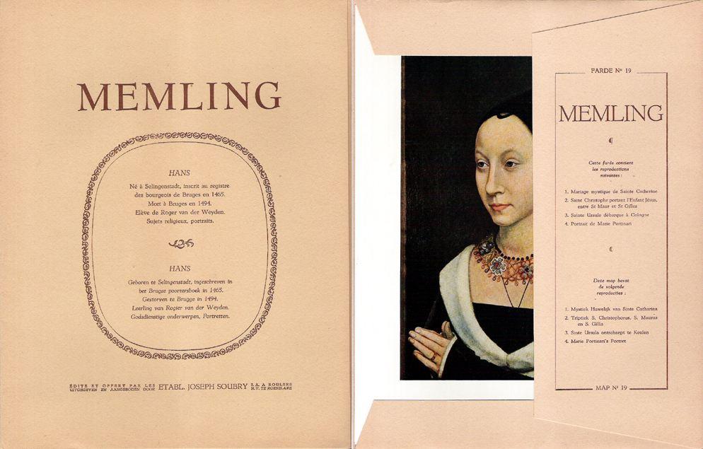 Cahier consacré à Memling issu de la série de reproductions éditée par le fabricant de pâtes Soubry.