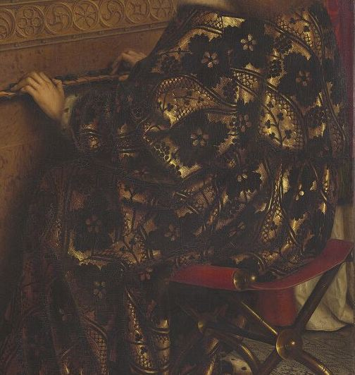 Détail du polyptyque de l' Agneau mystique  des frères Van Eyck. Intérieur, ange musicien ou Sainte-Cécile. Gand, cathédrale Saint-Bavon. Site   Closer To Van Eyck  .