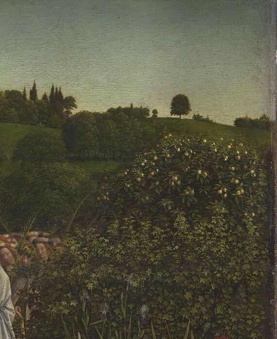 Détail du polyptyque de l' Agneau mystique  des frères Van Eyck. Intérieur, panneau central. Gand, cathédrale Saint-Bavon. Site   Closer To Van Eyck  .