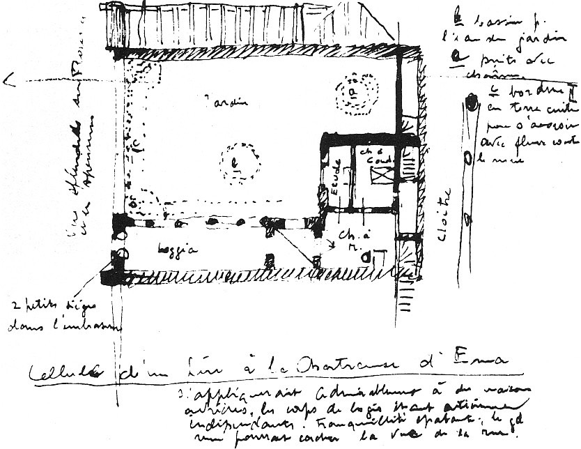 Le Corbusier. Plan d'une cellule de la chartreuse de Galluzzo, 1910.  Source