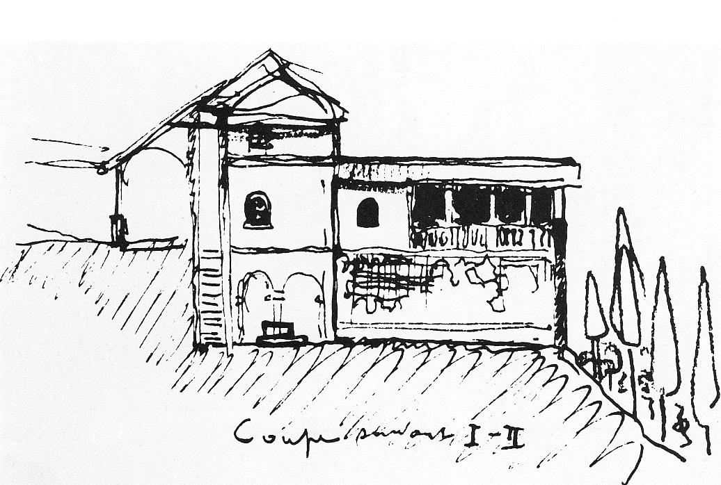 Le Corbusier. Coupe d'une cellule de la Chartreuse de Galluzzo, 1910.  Source.