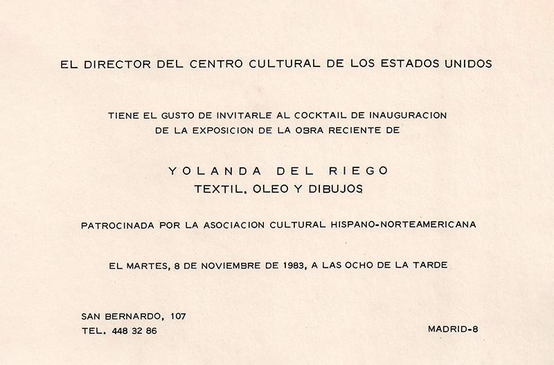 Invitation to the opening reception / Invitación a la inauguración