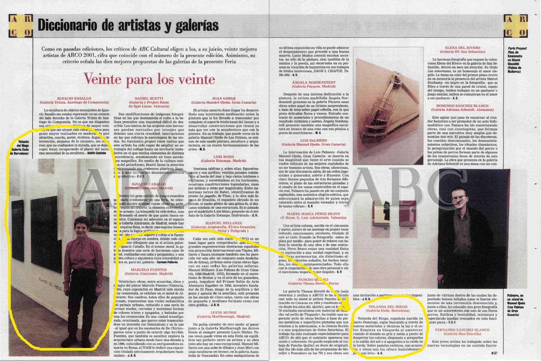 """"""" Veinte para los veinte """",  ABC Cultural  (Madrid, España), 17 de feb. de 2001, p. 26-27 (Yolanda del Riego en la foto de la izq.)"""