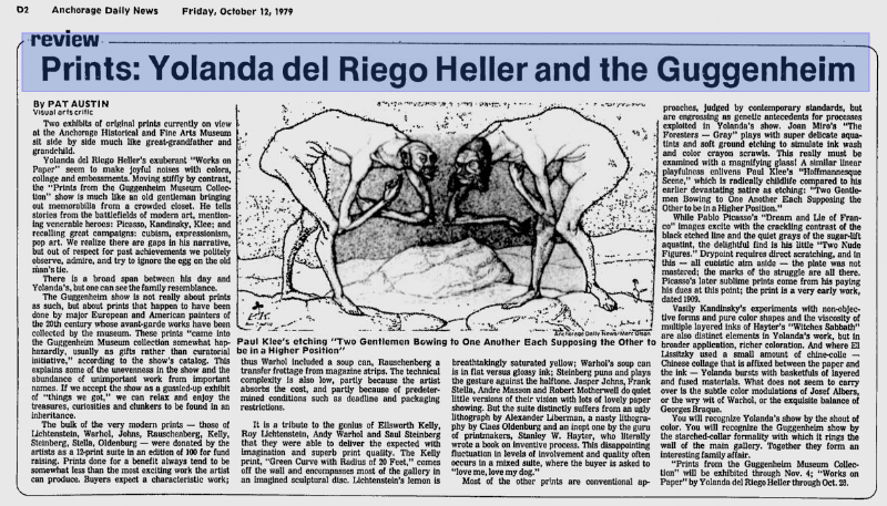 """Exhibition Review: Austin, Pat. """"Prints: Yolanda del Riego Heller and the Guggenheim"""", Anchorage Daily News, Anchorage, 12 October 1979."""