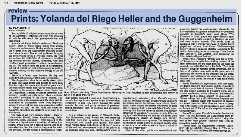 """Crítica de la exposición ( Ver PDF ) Austin, Pat. """"Prints: Yolanda del Riego Heller and the Guggenheim"""", Anchorage Daily News, Anchorage, 12 de octubre de 1979."""