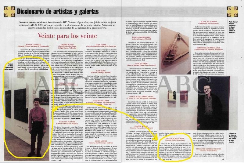 """"""" Veinte para los veinte """",  ABC Cultural  (Madrid, Spain), Feb 17, 2001, pgs 26-27 (Yolanda del Riego pictured on left)"""