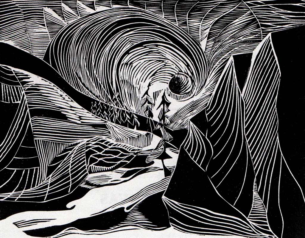 Aurora Borealis . 1976. Linocut