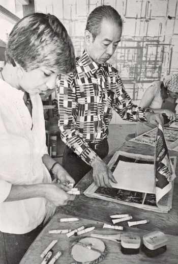 YR in a workshop with  Tōshi Yoshida  at the VAC (1977)