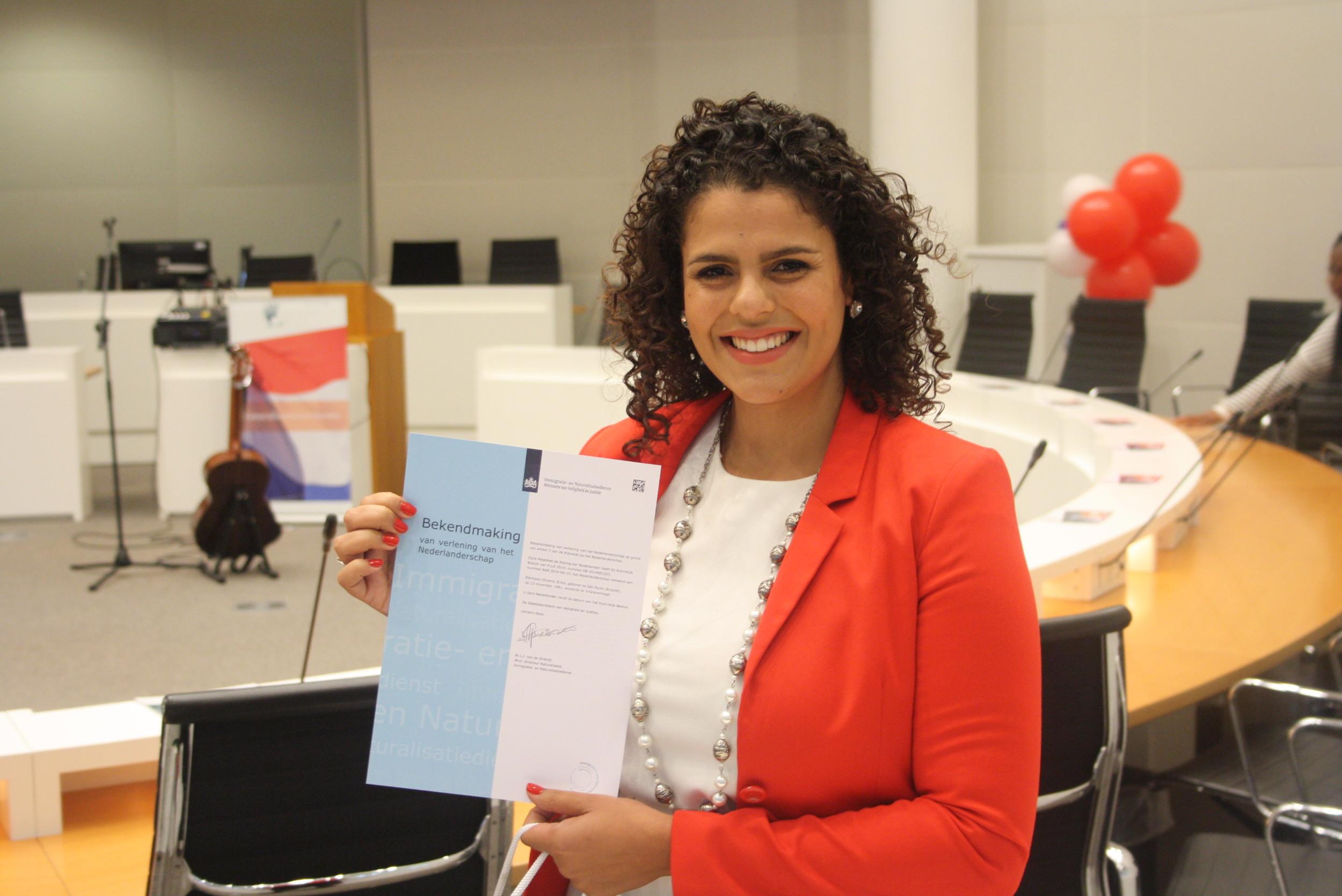 Na cerimônia de naturalização holandesa