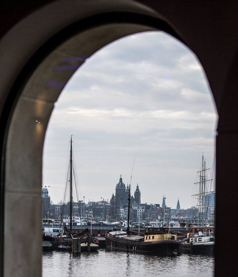View from the museum over the water to Amsterdam