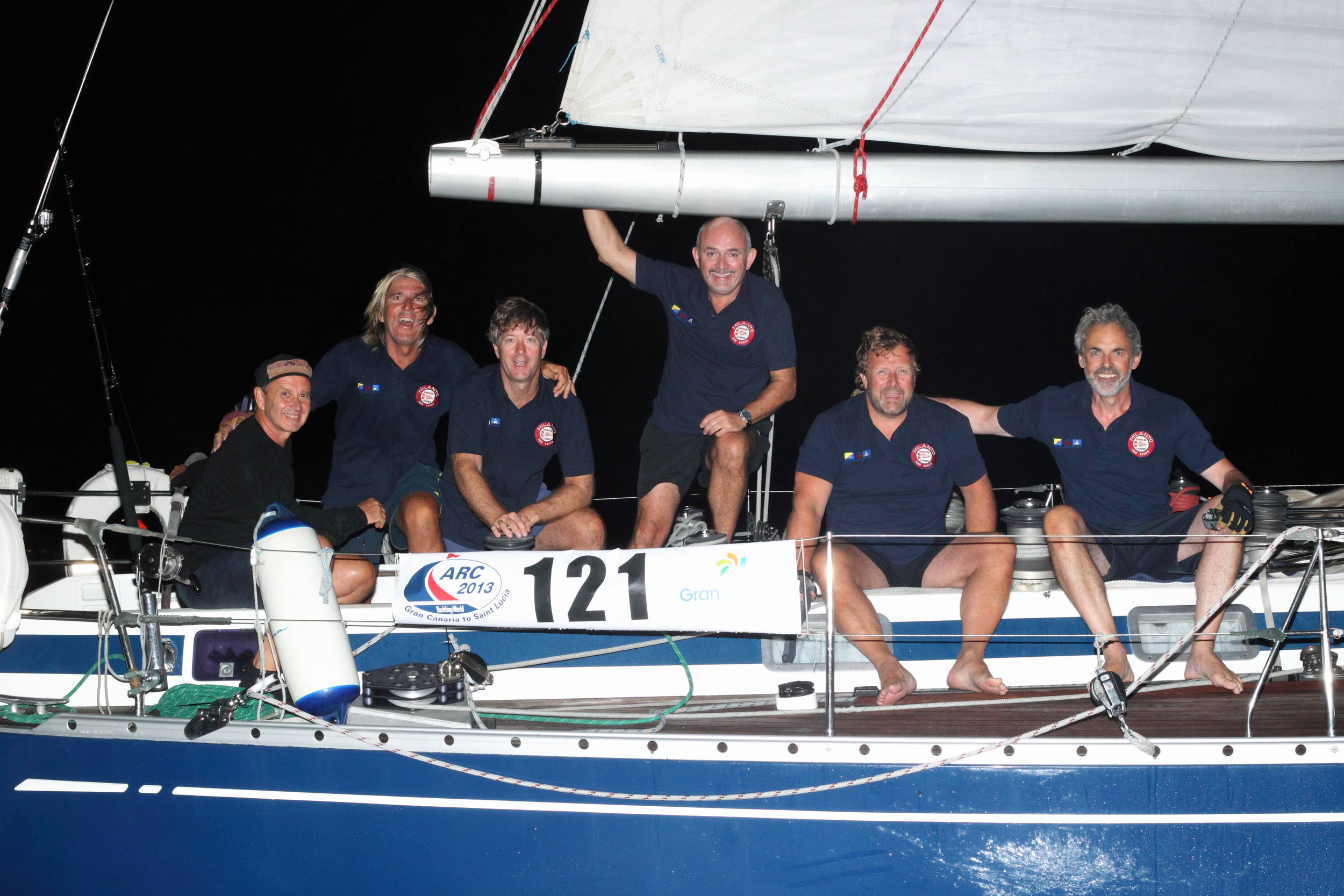 The 2013 crew, happy to have crossed the line in Rodney Bay