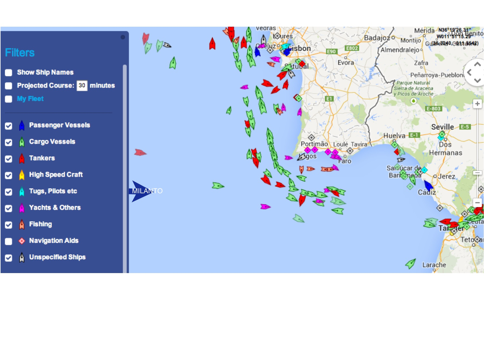 Blue arrow marking Milanto's position at 10:45 so by tomorrow will be in the shipping lanes
