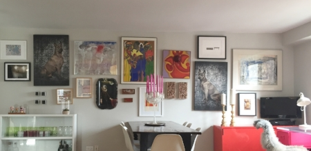 We brought all her Art that she collected over the years and put it all together on the main wall.