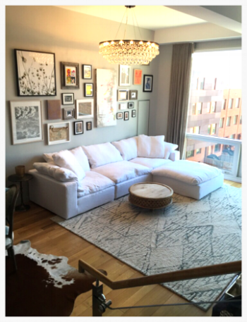 New Carrol Gardens apartment.  We created an Art wall for the family with things they all like.  Lighting the living room with a beautiful modern glass dropped chandelier and a cozy sofa & rug