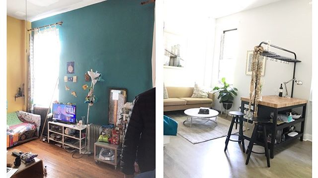 Here's our newly renovated Air Bnb we just finished near me in Brooklyn NY. Available to rent.  Check out the before & after pics. Really chuffed how our hanging loft bed turned out. Dm me for the listing. #airbnbhost #Design to live sell rent Air bnb