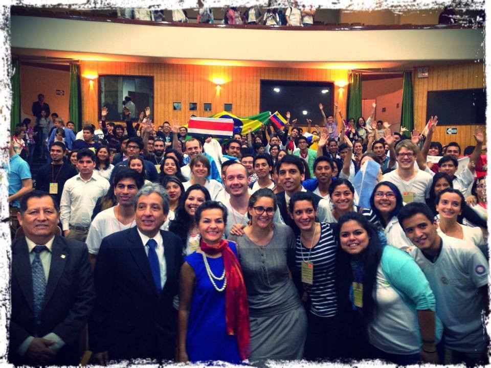 Controversial photo with Christina Figueres, the Peruvian environmental minister and the youth at COY. Some young people were concerned that this photo was taken without their permission. (source: COY10 organizers).