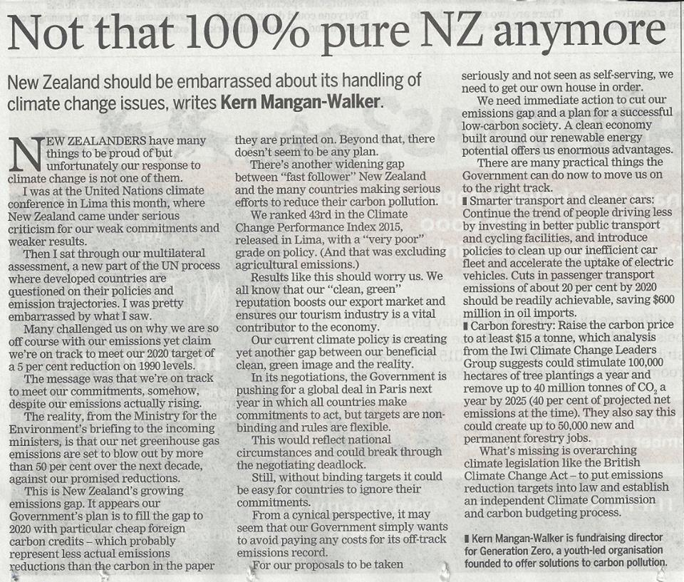 The opinion piece as it was published by the Dominion Post on Thursday the 18th of December. Note that there have beensome editorial changes.