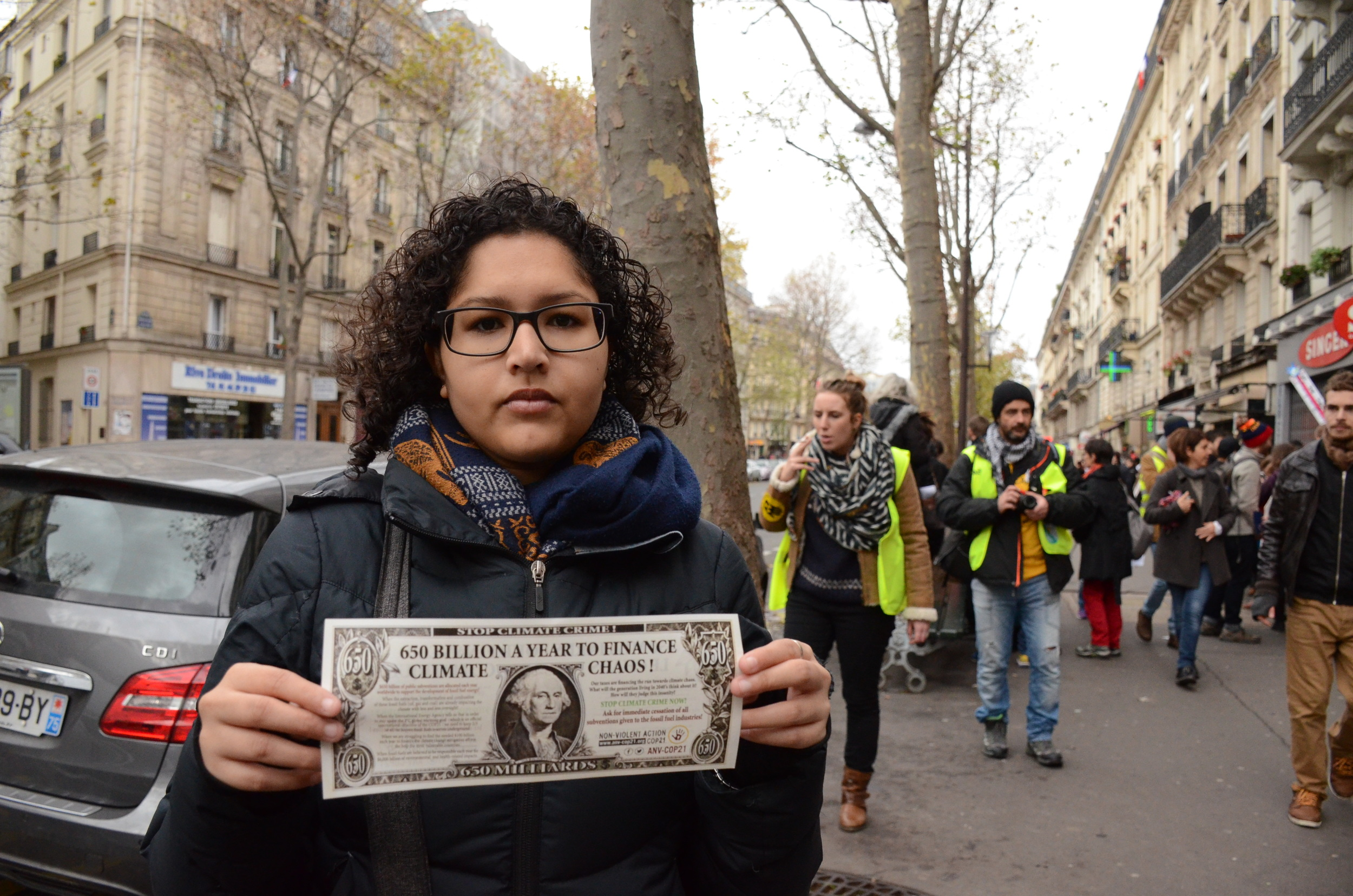AYLI delegate and Pacific climate activist Kya Lal on the streets of Paris.