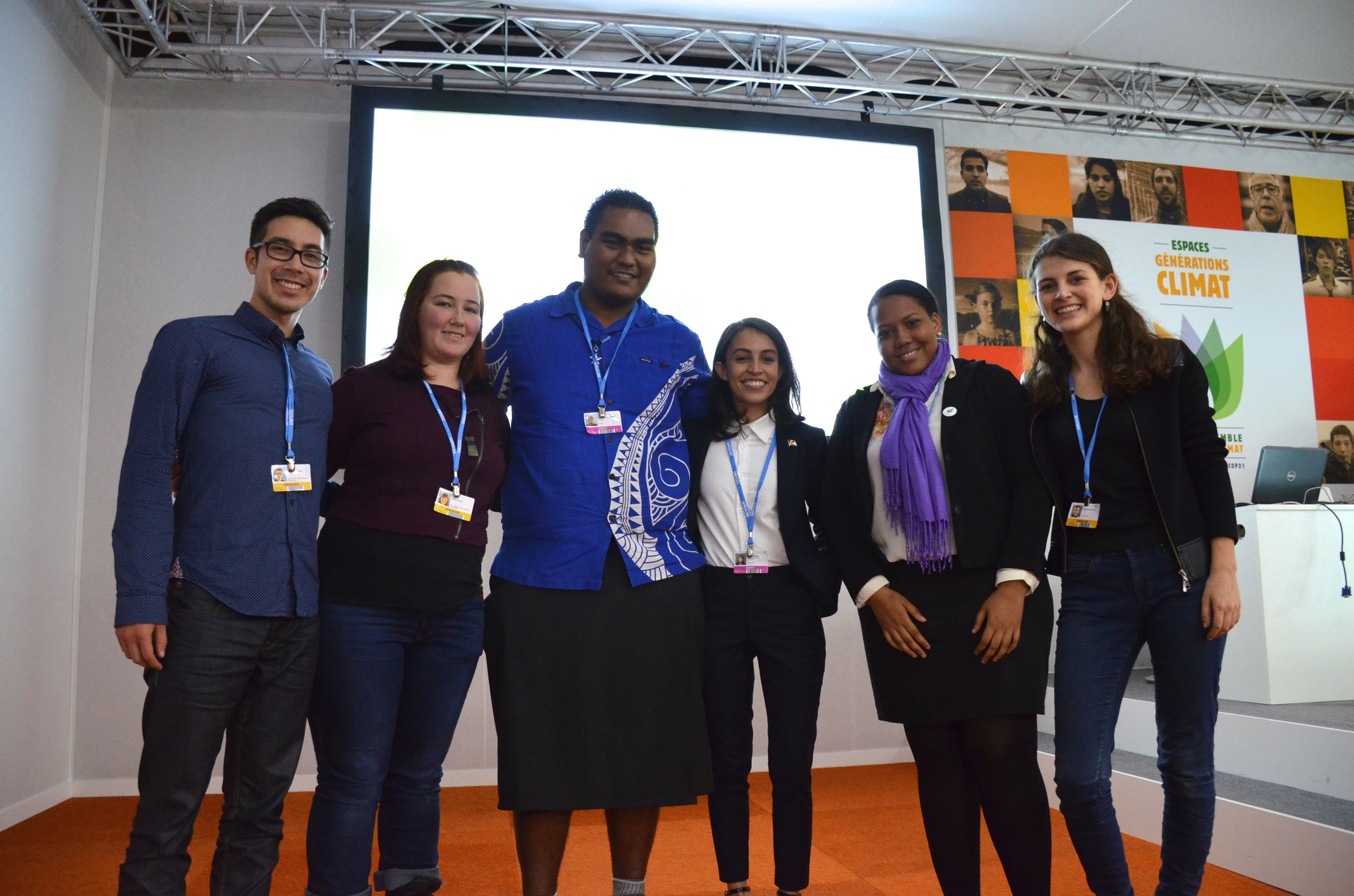 From left to right: New Zealand youth delegates James Young-Drew and Renée Annan, Kiribati Children Campaigner's Network delegate Rae Bainteiti, Seychelles youth delegates Zara Pardiwalla and Lisa Bastienne, and Aotearoa Youth Leadership Institute delegate Mattea Mrkusic