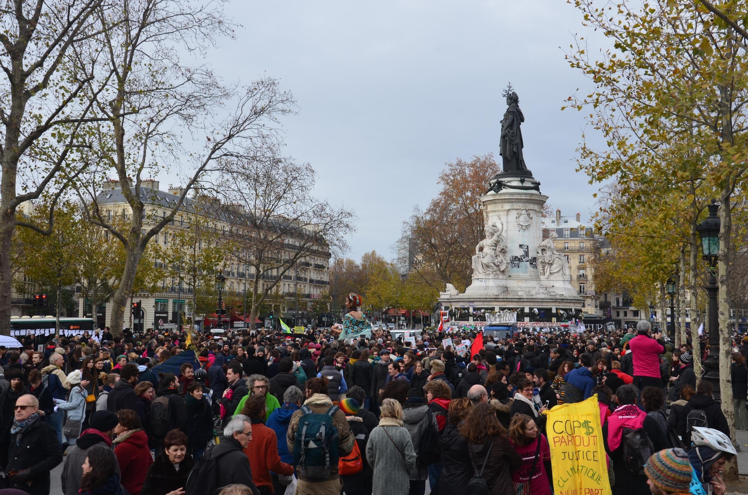 The protesters in Place de la Republique. Photograph by Hamish Laing