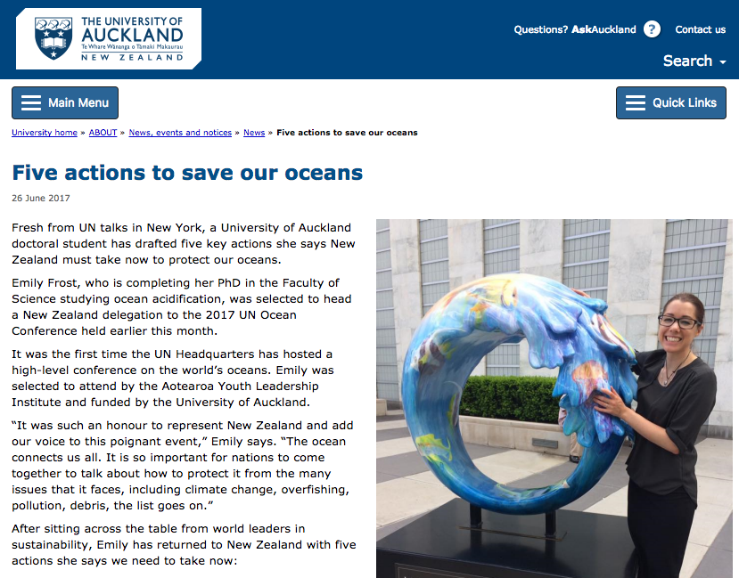 University of Auckland - Emily Frost article
