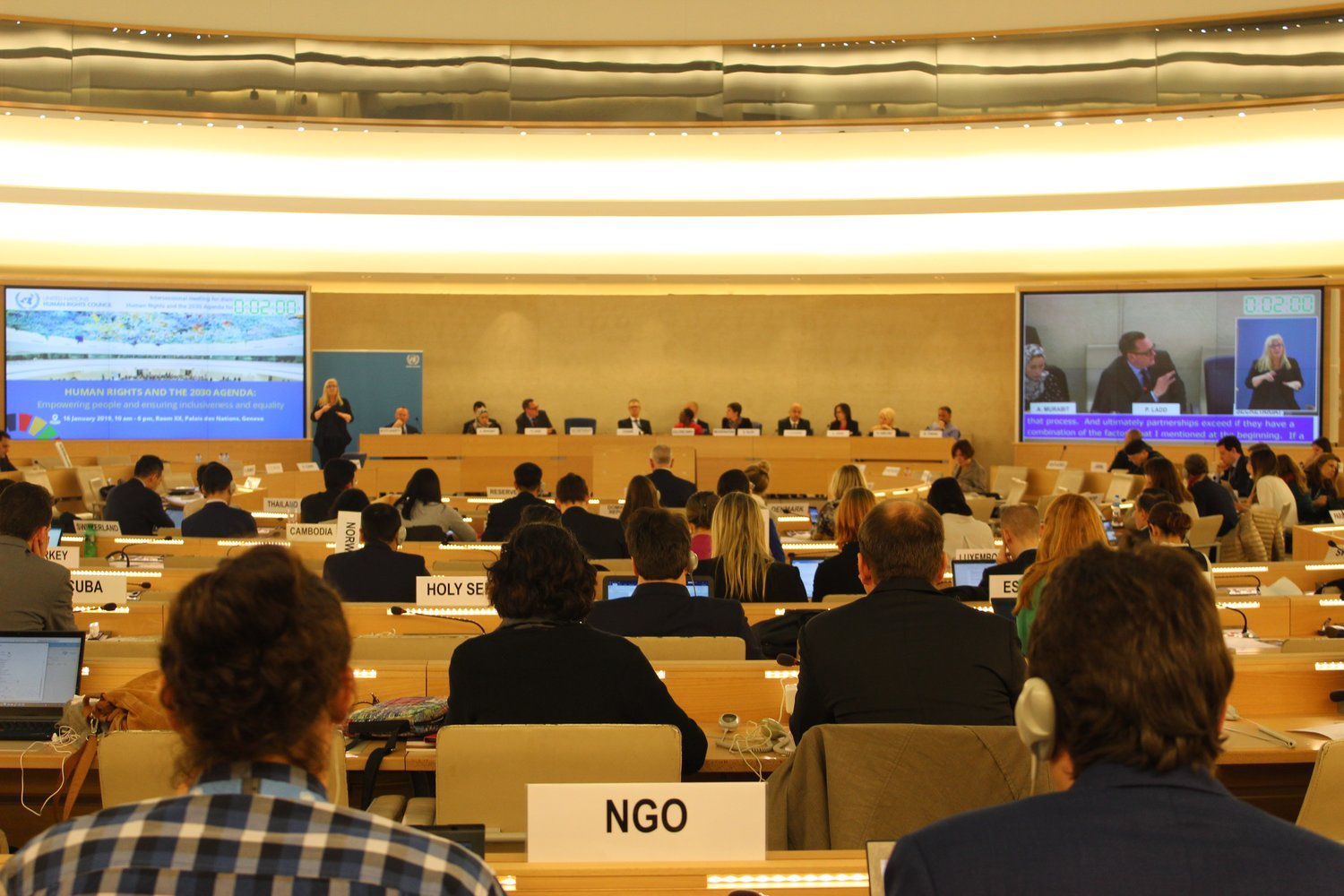 Panel discussion on strong and meaningful partnerships between human rights and the SDGs, at the Human Rights Council Intersessional Meeting on the 2030 Agenda (16th January 2019).