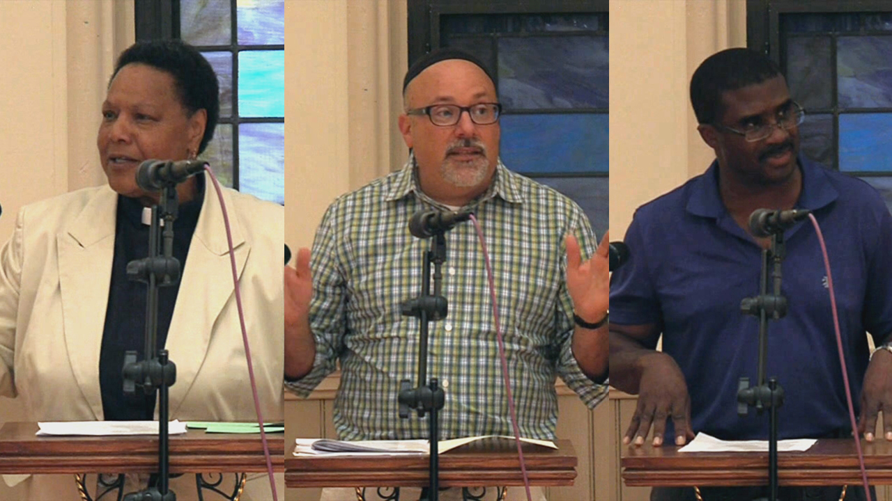 Left to Right:Reverend Gladys Moore, Senior Pastor at St. John's Lutheran Church;Rabbi Avi Friedman of Congregation Ohr Shalom;and Reverend Vernon Williams, Assistant Pastor at Fountain Baptist Church.