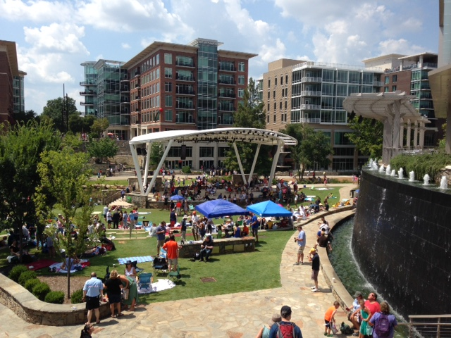 Greenville, SC, riverfront behind the Peace Center