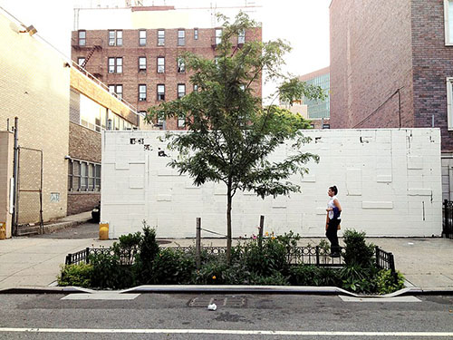 (A right-of-way bioswale installed by the New York City Department of Environmental Protection on Dean Street, Brooklyn. Photo by Chris Hamby)
