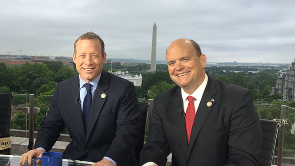 U.S. House Representatives Josh Gottheimer, Democrat from NJ (left), and Tom Reed, Republican from NY (right), Problem Solvers Caucus co-chairs. (Photo courtesy of the office of Rep. Tom Reed.)